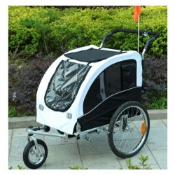 Swivel dog bike trailer with suspensions